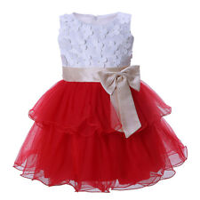 Infant Baby Girl Tutu Party Dress Toddler Kids Flower Wedding Baptism Pageant