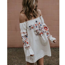 Womens Off-Shoulder Floral Printed Dress Summer Ladies Beach Party Sundress