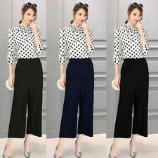 Women Pull On Pleated Wide Leg Solid Casual Loose Capri Pants Trousers SYL6