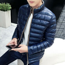 Mens Thicken leather Stand collar Coats full zip Casual classic jacket parka new
