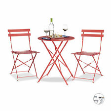 Round Bistro Table with 2 Chairs, Foldable, Metal Patio or Garden Furniture Set