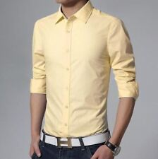 Broadcloth Fabric Long Sleeved Solid Color Slim Fit Casual Shirt For Men