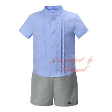 Baby Boy Shirt and Striped Shorts Set Toddler Kids Summer Party Holiday Outfit