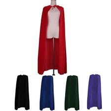 Adult's Velvet Cloak Hood Gothic Devil Cape Medieval Witch Wizard Rope Costume