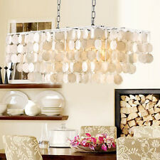 White Mother of Pearl Modern Ceiling Hanging Pendant Light Fixture 3 Lamp Square