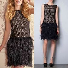 Zara Cocktail Black Lace Dress with Feather Skirt Bloggers Sold Out XS M