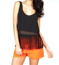 Womens Fringe Cropped Top Blouse Sleeveless Tank Camisole Shirt Black S M L