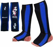 Neoprene Gel Shin Instep Pads MMA Leg Foot Guards Muay Thai Kick Protector