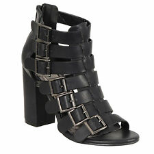 Ladies Blk Strappy Sandal full shoe Strap High Heel New Block Heel