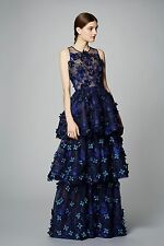NWT Marchesa Notte Sleeveless Navy Embroidered Applique Evening Gown
