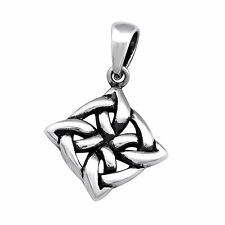 925 Sterling Silver Celtic Square Pendant Necklace (Chain Included)
