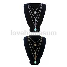 Women multi-layer Bohemian Silver/gold plated long chain turquoise necklace