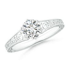 Natural Diamond Solitaire Engagement Ring with Filigree-Motifs 14k White Gold