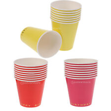8pcs Paper Cups 270ml Plain Solid Colour Happy Birthday BBQ Party Tableware