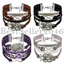Retro Infinite Multilayer Handmade Leather Rope Womens Mens Bracelet Wristband