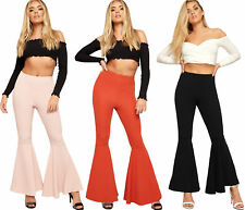 Womens Crepe High Waisted Funnel Hem Pants Ladies Wide Leg Flared Trousers 8-14