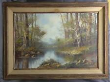 Vintage Trees Lake Mountain Landscape Old Oil Painting Artist Signed Framed Art