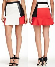 Romeo & Juliet Couture Ivory/Chinese Red Faux Leather Colorblock Skirt - $118