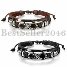 Fashion Womens Mens Leather Tribal Stainless Love Infinity Cuff Bangle Bracelet