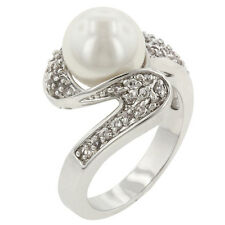 Rhodium Plated Shell Pearl Cocktail Ring Clear Cubic Zirconia Accents