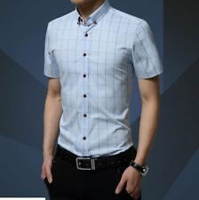 Men Light Blue Color Casual Wear Plaid Pattern Slim Fit Short Sleeve Shirt