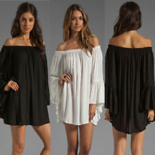 Fashion Womens A Word Shoulder Chiffon Long Sleeves Patry Beach Mini Dress