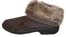 Isotoner Chocolate Brown Microsuede Memory Foam Low Boot Slippers 03334BCHO