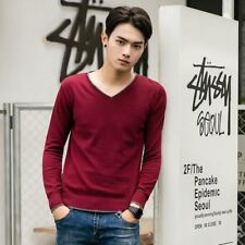 New Fashion V Neck Long Sleeve Yellow Red Color Casual Sweater For Men