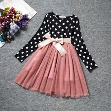 Kid Girls Lace Dress Enfant Baby Dot Bow Pattern Long Sleeve Lace Children Dress