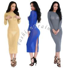 Sexy Women's Slim Long Sleeve See Through Mesh Evening Party Bodycon Dress S-XXL