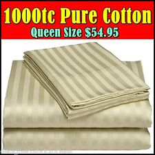 1000TC QUEEN Size BED SHEET SET/ QUILT COVER SET Cotton Satin Stripe- SAGE GREEN