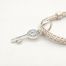 Genuine Authentic S925 Sterling Silver KEY DANGLE WITH CUBIC ZIRCONIA CHARM Bead