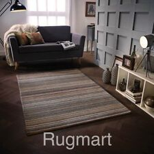 STRIPED NATURAL GREY BEIGE BROWN HIGH QUALITY Modern Hand woven Wool Rug Runner