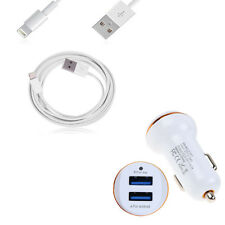 Dual port Fast Car Charger+Type-C/Micro/iPhone cable for iPhone 7 6S 6 5S iPod