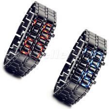 Mens Lava Iron Samurai LED Faceless Bracelet Electronic Wrist Watch Father's Day