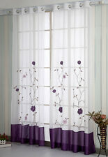A pair Embroidered patch work Flower vine Sheer Voile Window Curtains purple