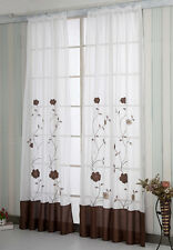 A pair Embroidered patch work Flower vine Sheer Voile Window Curtains brown