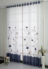 A pair Embroidered patch work Flower vine Sheer Voile Window Curtains navy blue