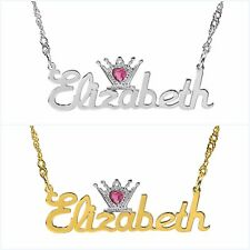 Personalized Sterling Silver Any Name Plate Script Necklace w/ Heart Crown Jewel