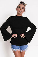 Casual Loose Pullover Sweater jumper Horn sleeve O-Neck Top Blouse Fashion Women