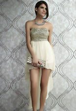 Women Charming Boulevard Sequined Long Twinkle Dress Beige Evening Party Prom
