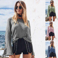 Pullover Sweater Autumn Women's Long Sleeve Knitwear Bandage Lace Up Bell
