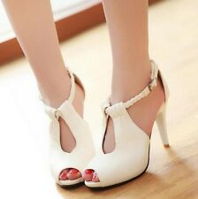 Women Casual High Heel Peep Toe Cut-outs  Leather Sandal With Ankle Strap