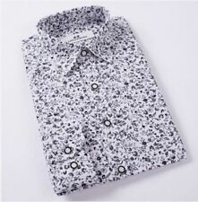 Men White Color New Fashion Casual Turn-down Collar Slim Fit Shirt Size M-4XL