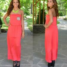 New Women Sexy Strapless Sleeveless Casual Party Long Dress WT88