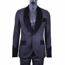DOLCE & GABBANA RUNWAY Striped Wool Baroque Tuxedo Blazer Jacket Black 06009