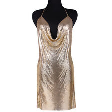 New Women Fashion Gold Chainmaille Dress Sexy Party Deep V Neck Plunge Sequin
