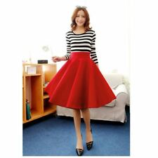 New Spring Autumn Thick Pleasted a Line Women Vintage Flare Midi Swing Skirt