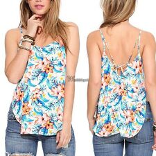 Summer Women Casual Spaghetti Strap Floral Backless Side Slit Tank Tops WT8802