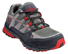 Nautilus Mens Steel Toe SD Athletic M Grey/Red Faux Leather Shoes